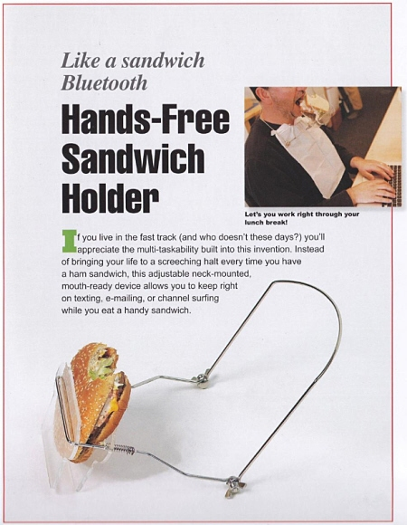 ↑ Hands-Free Sandwich Holder