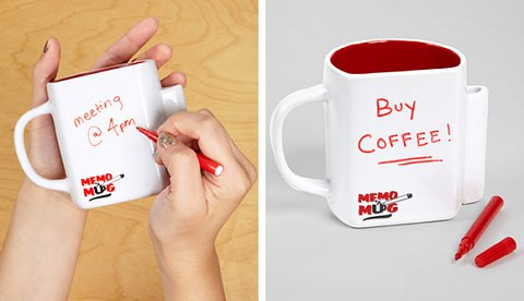 ↑ Novelty MEMO Mug with Message Board & Pen