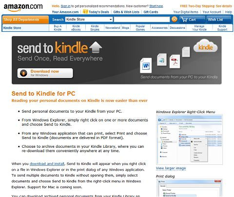 ↑ Send to Kindle for PC