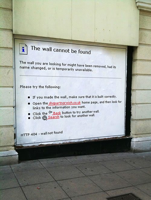 ↑ HTTP 404 Error: Wall Not Found
