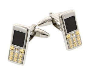 ↑ Mobile phone cell phone cufflinks with presentation box