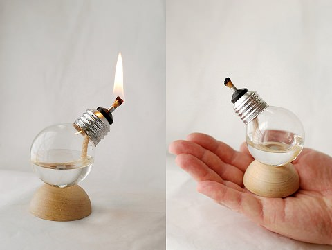 ↑ Mini Recycled Light Bulb Oil Lamp on Natural Wood Half Dome Base