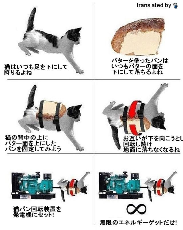↑ 猫とパンとバターで作る半永久エネルギー機関