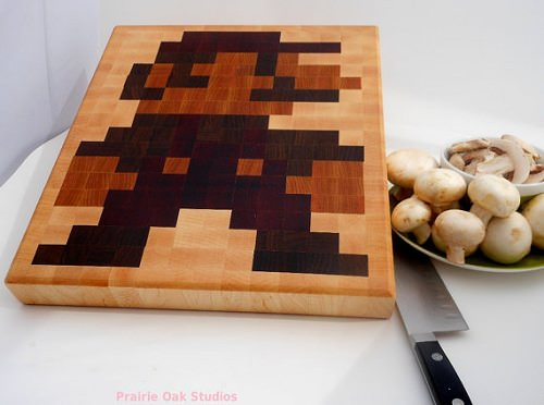 ↑ Preorder: 8 bit Mario end grain cutting board