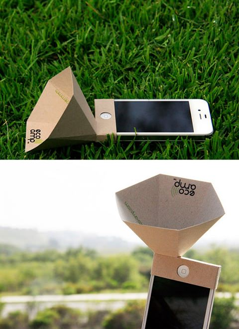 ↑ The eco-amp, an environmentally friendly iPhone speaker amplifier