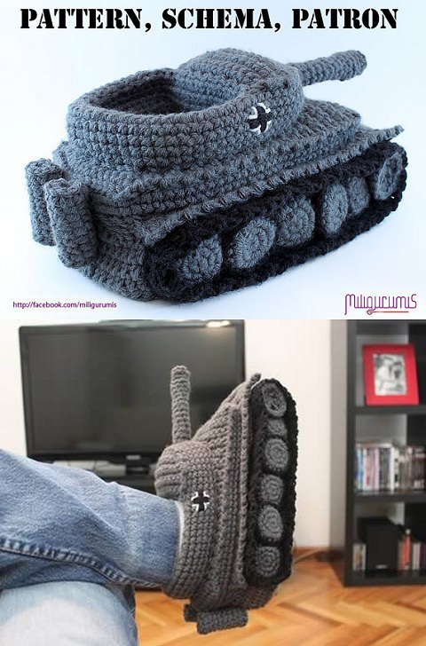 ↑ PATTERN for Tiger 1 Tank - Panzer Crocheted Slippers