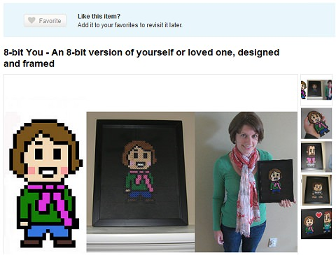 ↑ 8-bit You - An 8-bit version of yourself or loved one, designed and framed
