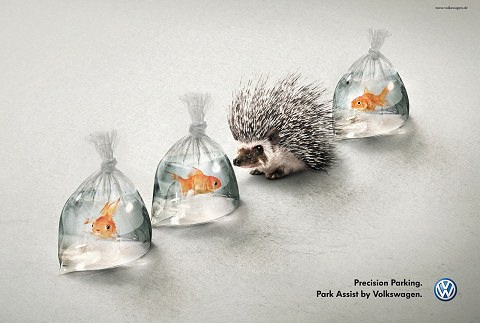 ↑ Volkswagen Park Assist: Hedgehog and Fish