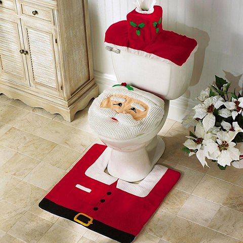 ↑ 4 Pcs Christmas Bathroom Toilet Cover and Rug Set - Happy Santa