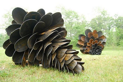 ↑ Giant Pine Cones Made from Shovel Blades
