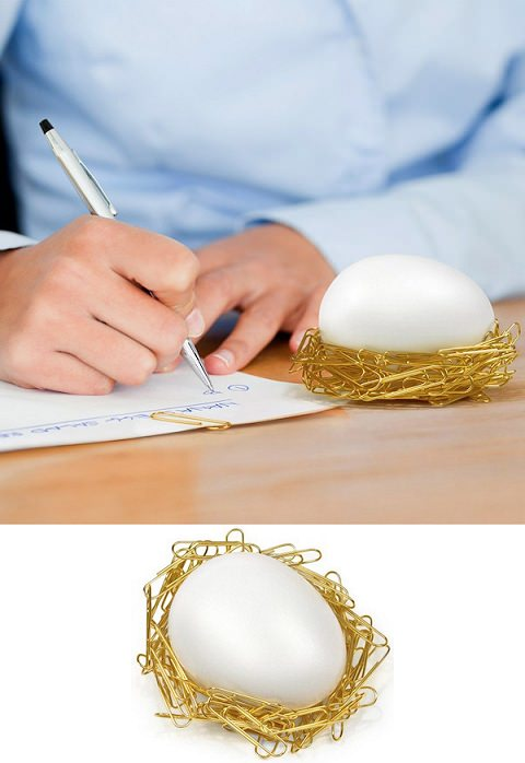 ↑ Desk Egg - Cozy Nest for Paper Clips