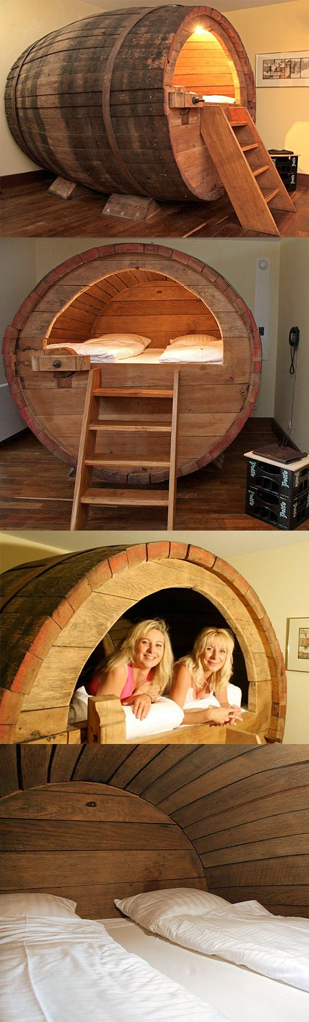 ↑ Beer Barrel Bed
