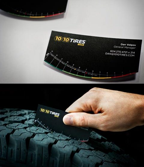 ↑ 1010 Tires: Tire tread business card