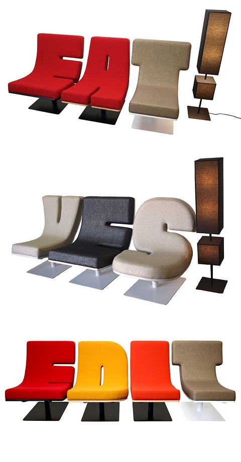 ↑ Typographic furniture