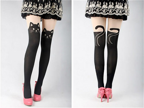 ↑ cat face stockings