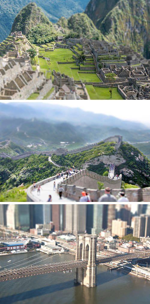 ↑ ティルトシフトで撮影された世界各地の名所たち