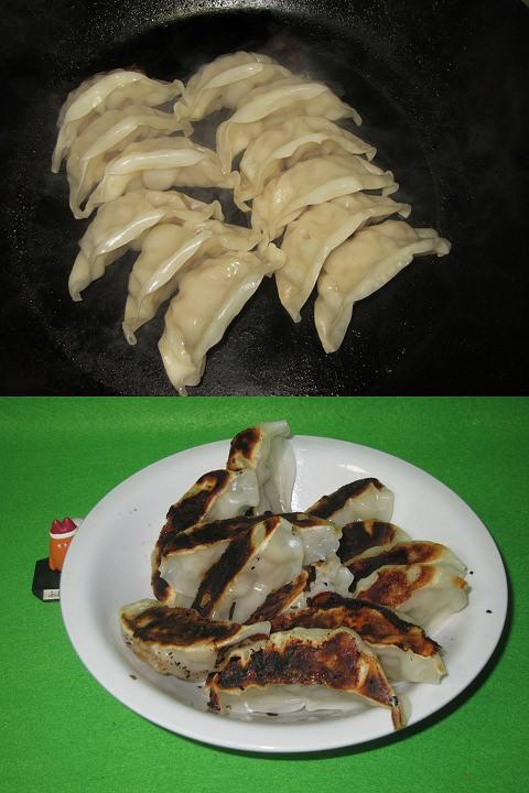 久々に使ったフライパンでざっくりと焼き上げた餃子たち