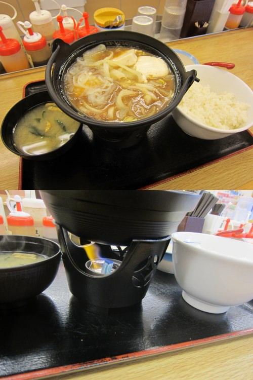 ↑ すき焼き鍋膳(松屋)全景と固形燃料部分